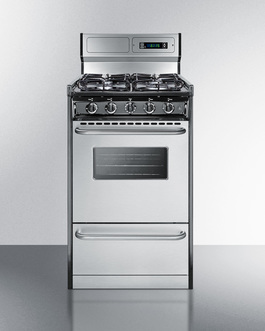 """Summit 20"""" wide gas range with sealed burners, stainless steel doors, and deluxe backguard"""