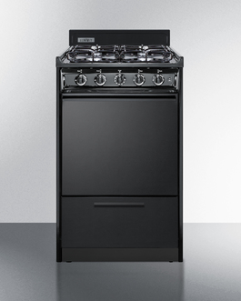 """Model: TTM1107CS   Summit 20"""" wide gas range in black with sealed burners and electronic ignition"""