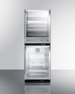 Upper warming cabinet & lower beverage center for dual purpose storage