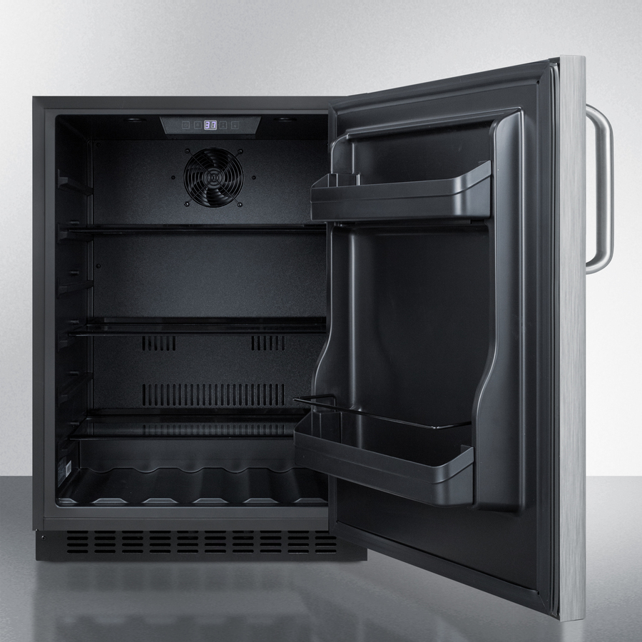 Model: AL54SSTB | Summit Built-in undercounter ADA compliant all-refrigerator with wrapped stainless steel door, towel bar handle, black cabinet, door storage, and digital controls