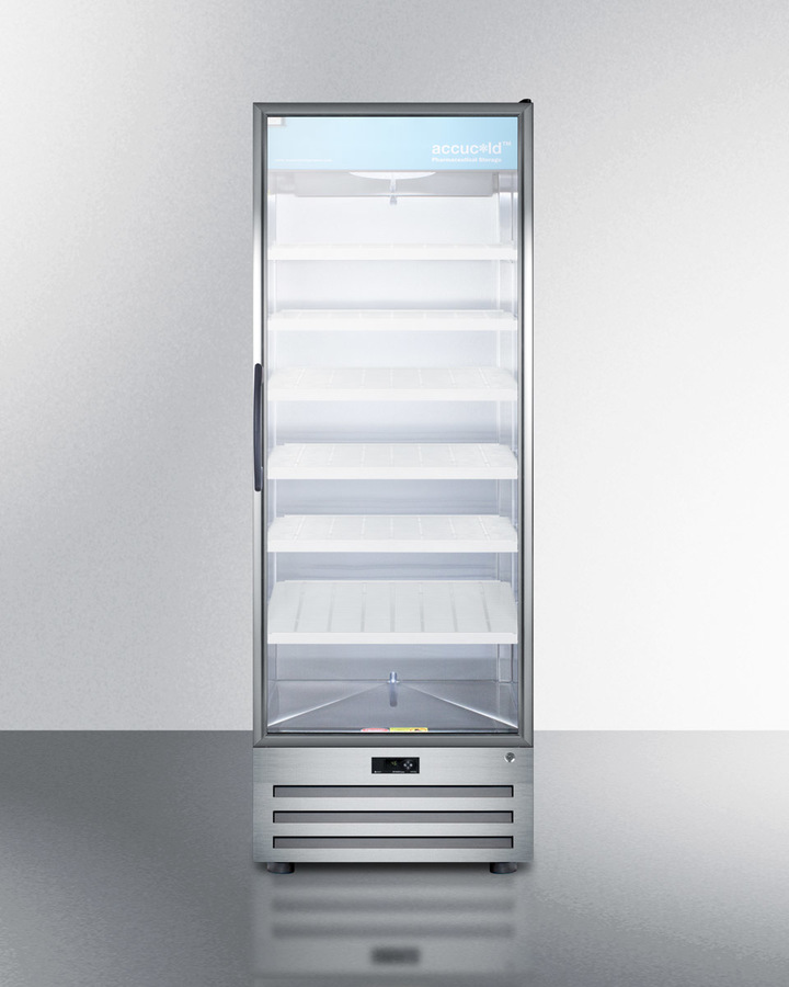 Summit Full-size pharmaceutical all-refrigerator with a glass door, lock, digital thermostat, and a stainless steel interior and exterior cabinet