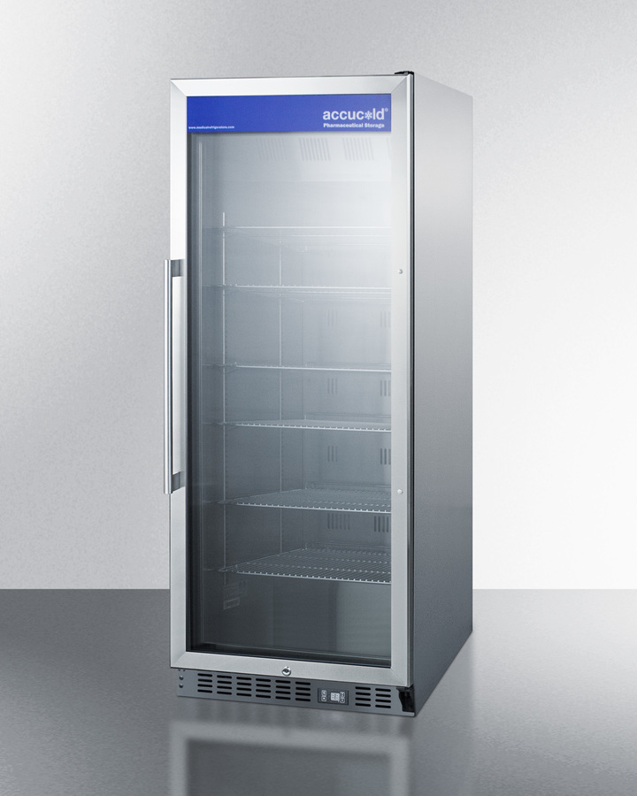 Model: ACR1151 | Mid-sized pharmaceutical all-refrigerator with stainless steel construction inside and out, digital controls, and self-closing glass door