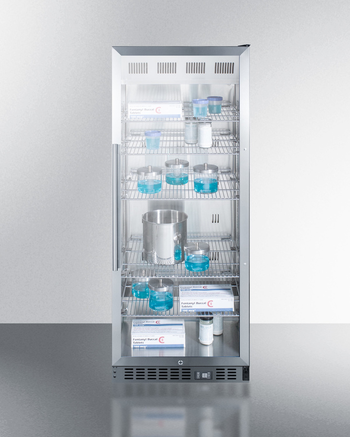 Model: ACR1151 | Summit Mid-sized pharmaceutical all-refrigerator with stainless steel construction inside and out, digital controls, and self-closing glass door