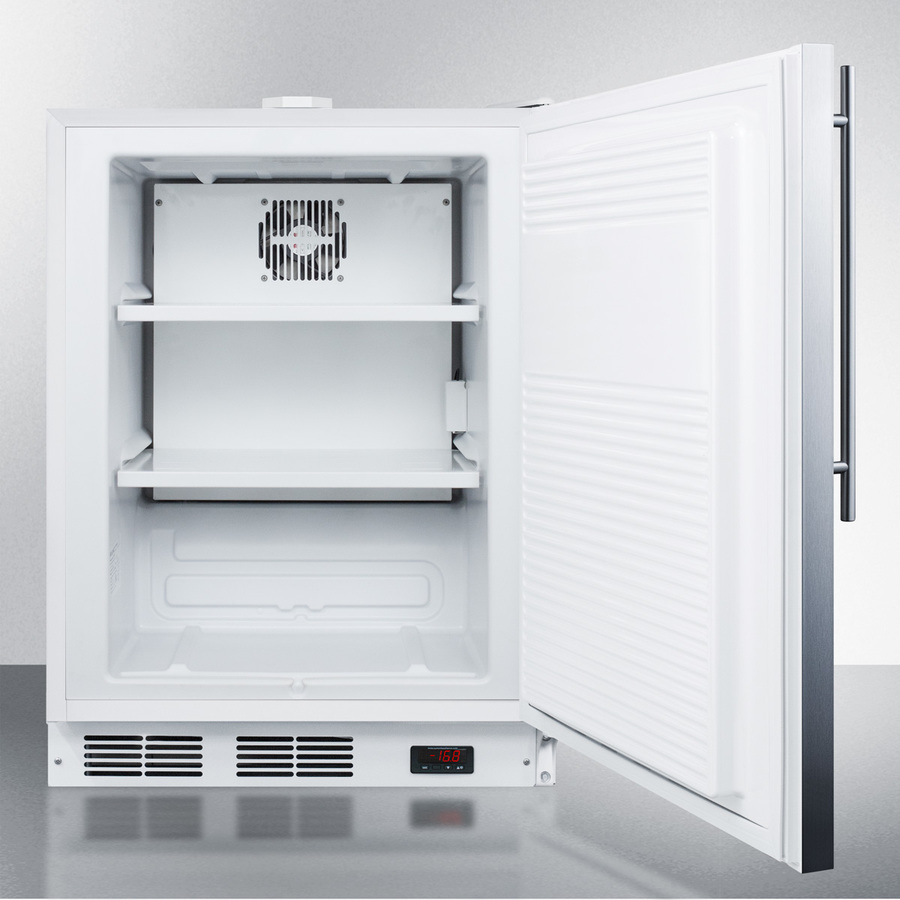 Model: ACF48WSSHVADA | Summit Built-in undercounter ADA compliant frost-free all-freezer for general purpose use, with digital thermostat, white cabinet, stainless steel door, thin handle, and lock