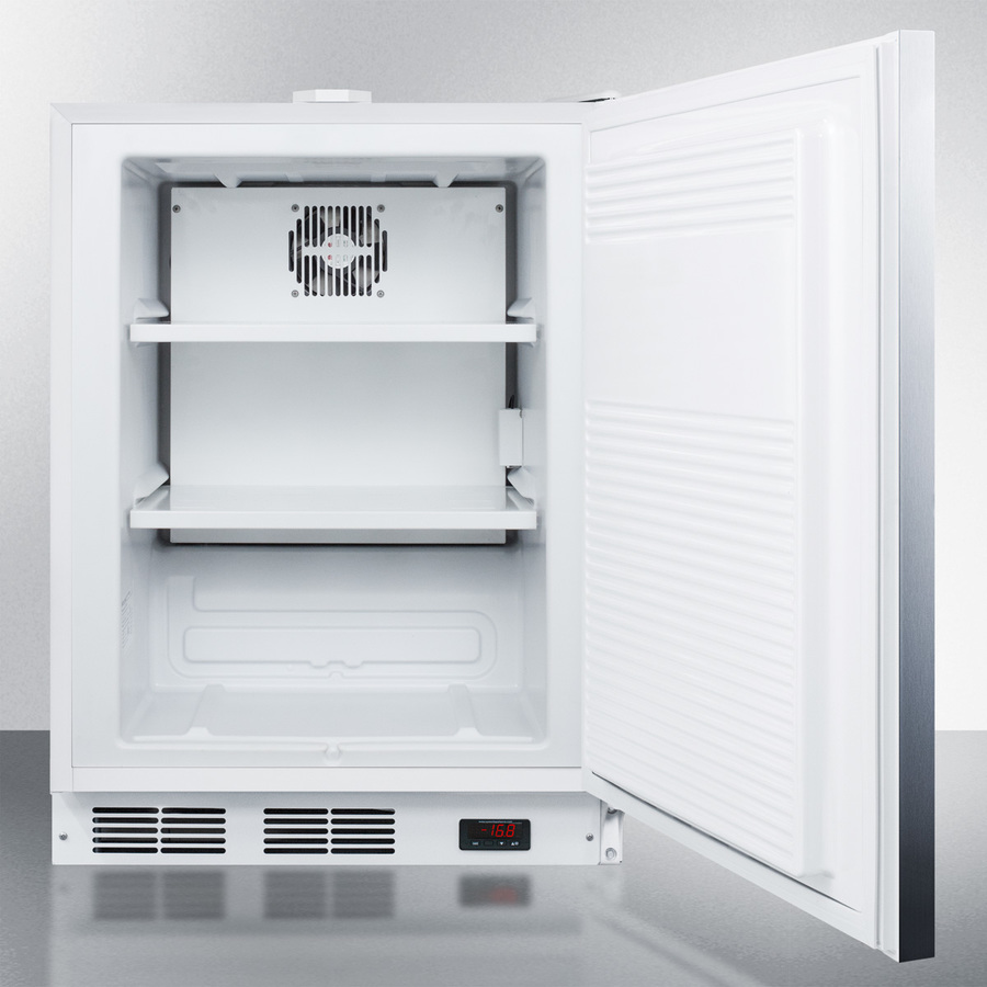 Model: ACF48WSSHHADA | Summit Built-in undercounter ADA compliant frost-free all-freezer for general purpose use, with digital thermostat, white cabinet, stainless steel door, horizontal handle, and lock