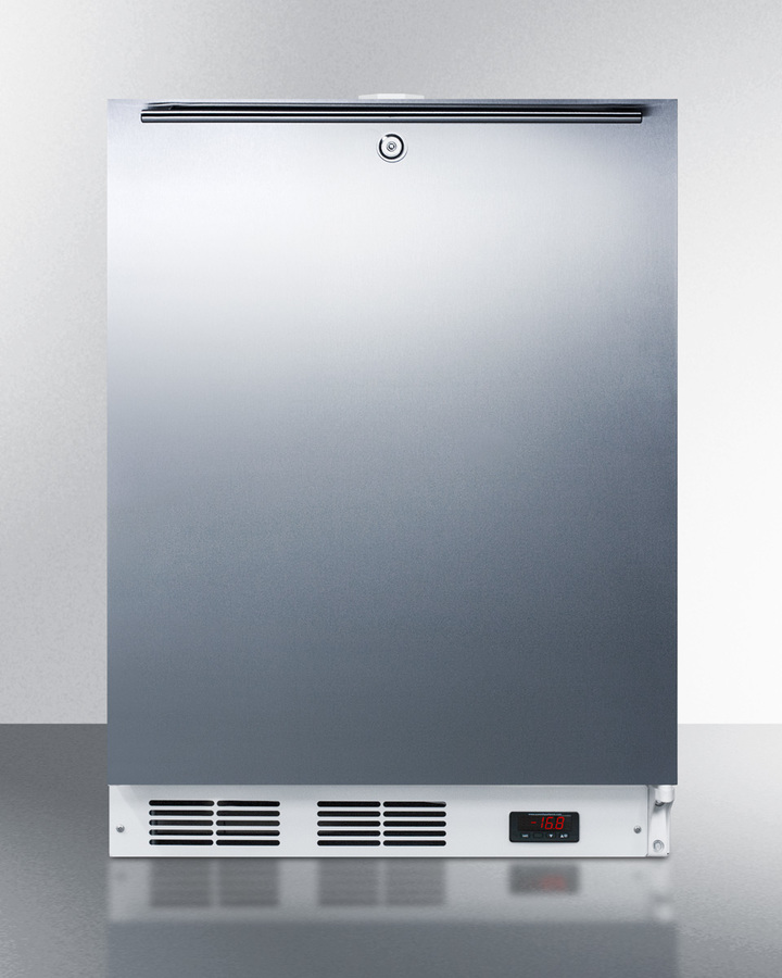 Model: ACF48WSSHH | Summit Built-in undercounter frost-free all-freezer for general purpose use, with digital thermostat, white cabinet, stainless steel door, horizontal handle, and lock