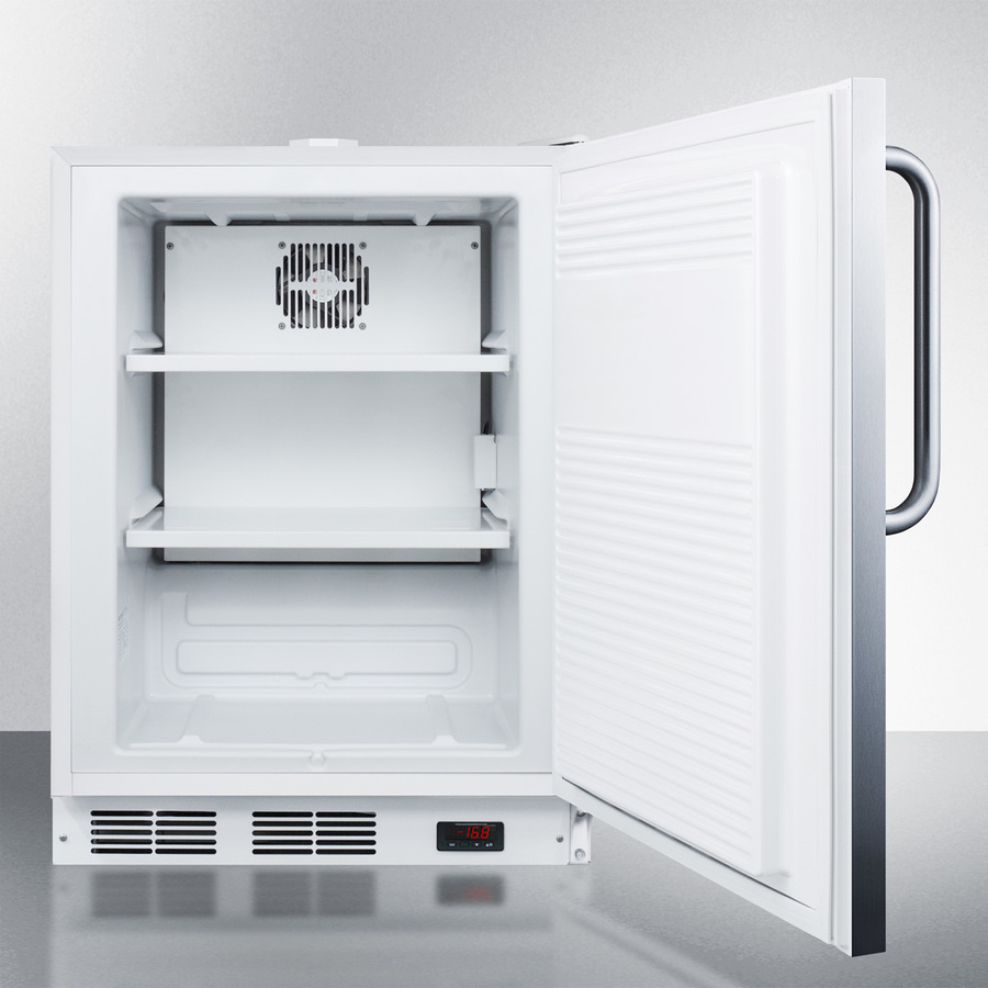 Model: ACF48WCSSADA | Summit Built-in ADA compliant undercounter frost-free all-freezer for general purpose use, with stainless steel exterior, digital thermostat, and lock