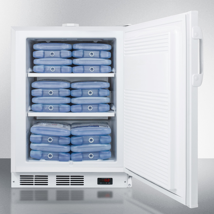 Model: ACF48W | Summit Built-in undercounter frost-free all-freezer for general purpose use, with white exterior, digital thermostat, and lock
