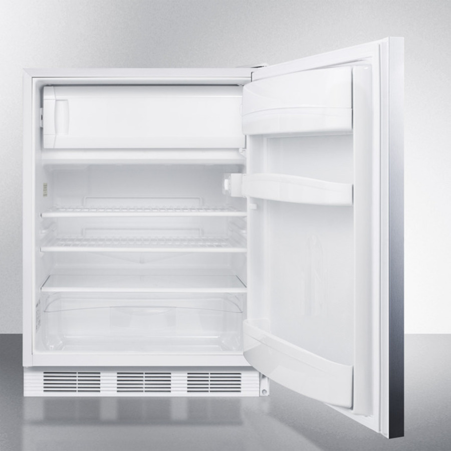Model: AL650LBISSHH | Built-in undercounter ADA compliant refrigerator-freezer for general purpose use, w/dual evaporator cooling, lock, SS door, horizontal handle, white cabinet