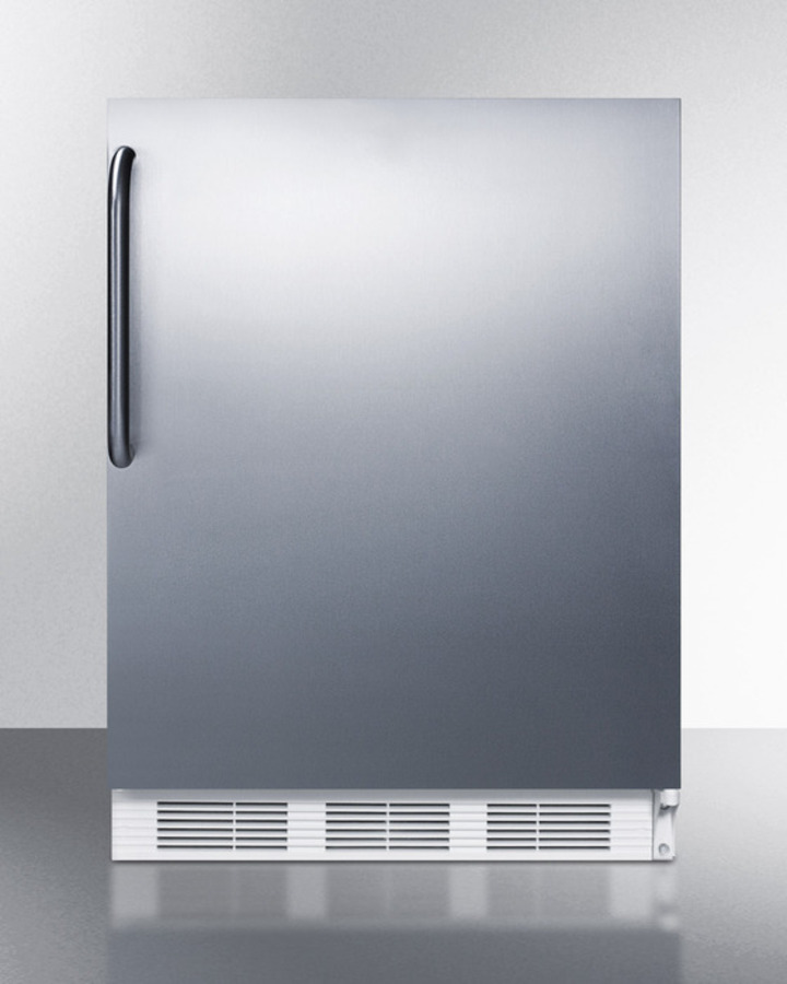 ADA compliant all-refrigerator for freestanding general purpose use, auto defrost w/SS door, towel bar handle, and white cabinet