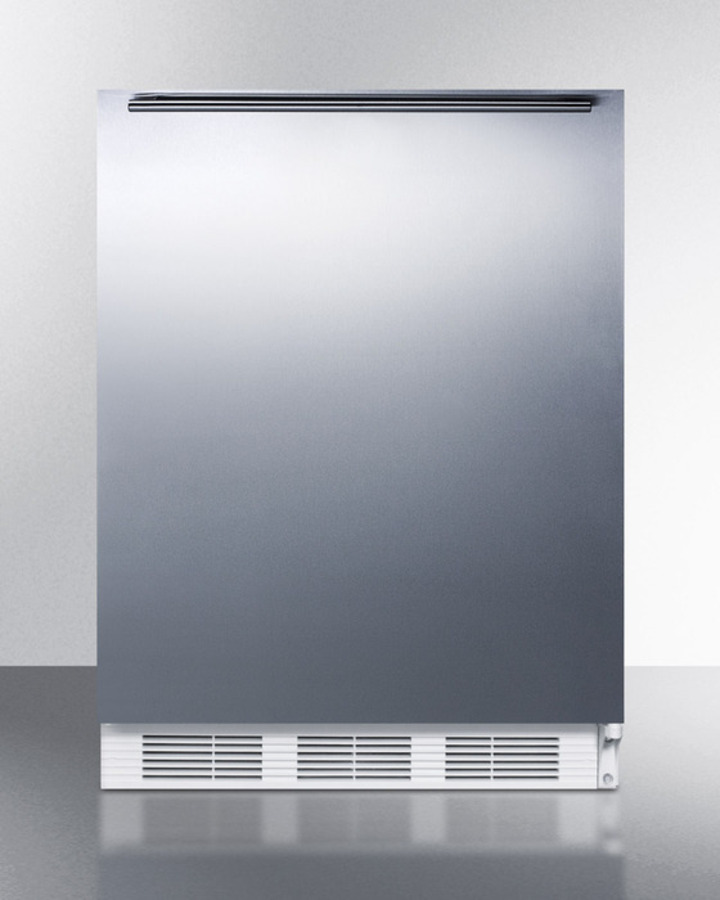 Summit ADA compliant built-in undercounter all-refrigerator for general purpose use, auto defrost w/SS wrapped door, horizontal handle, and white cabinet