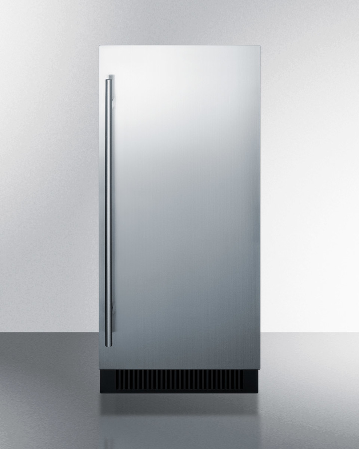 15' wide built-in undercounter clear icemaker with internal pump, stainless steel door, and black cabinet