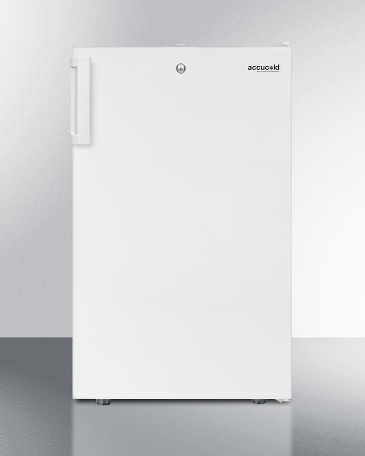 Commercially listed ADA compliant 20' wide counter height refrigerator-freezer with a lock, white exterior