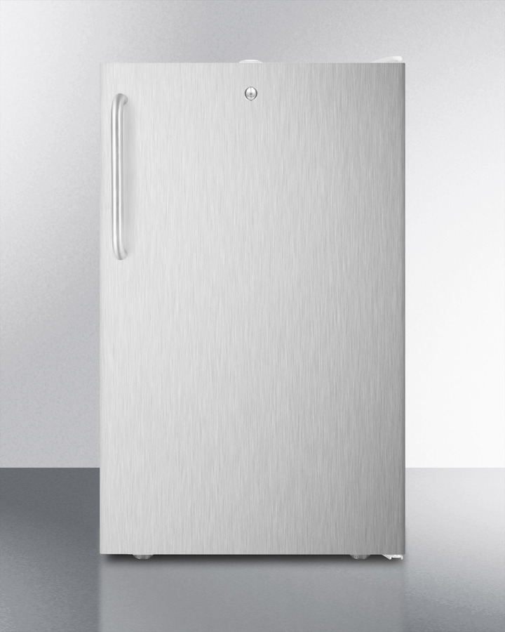 Commercially listed 20' wide counter height refrigerator-freezer with a lock, stainless steel door, towel bar handle and white cabinet