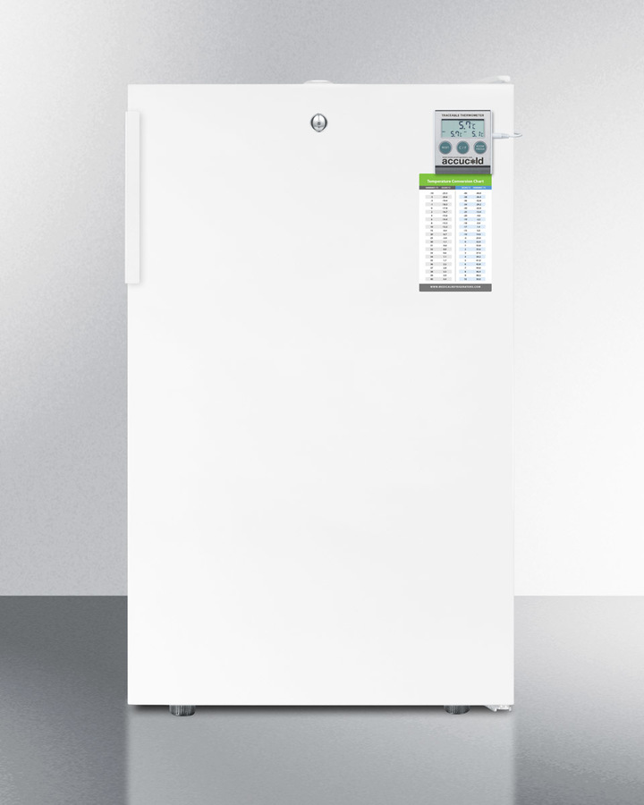 ADA compliant 20' wide refrigerator-freezer for freestanding use with a traceable thermometer, internal fan, and front lock