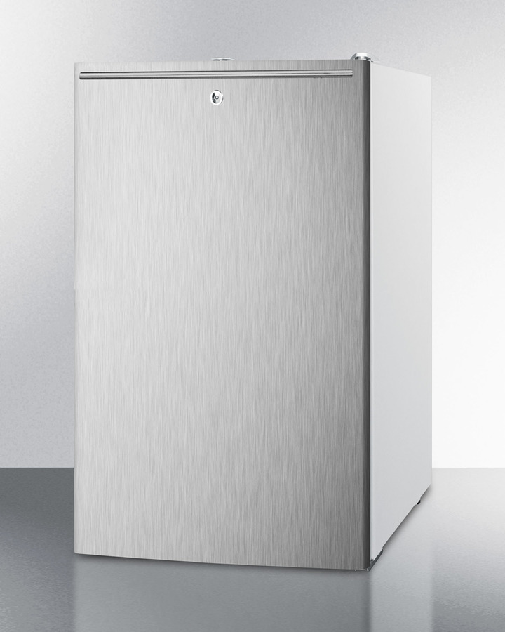 Model: CM411LSSHHADA | Summit ADA compliant 20' wide freestanding refrigerator-freezer with a lock, stainless steel door, horizontal handle and white cabinet