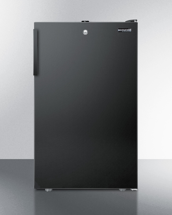 Commercially listed 20' wide counter height refrigerator-freezer with a lock and black exterior