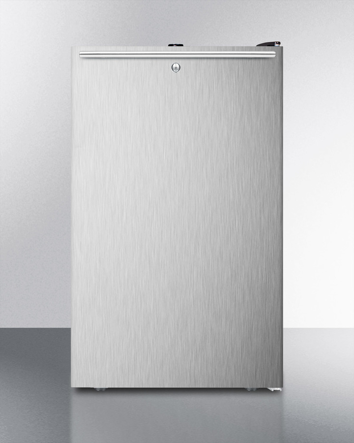 Commercially listed ADA compliant 20' wide freestanding refrigerator-freezer with a lock, stainless steel door, horizontal handle and black cabinet