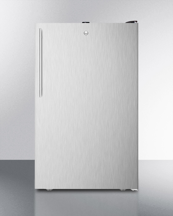 Commercially listed ADA compliant 20' wide freestanding refrigerator-freezer with a lock, stainless steel door, thin handle and black cabinet