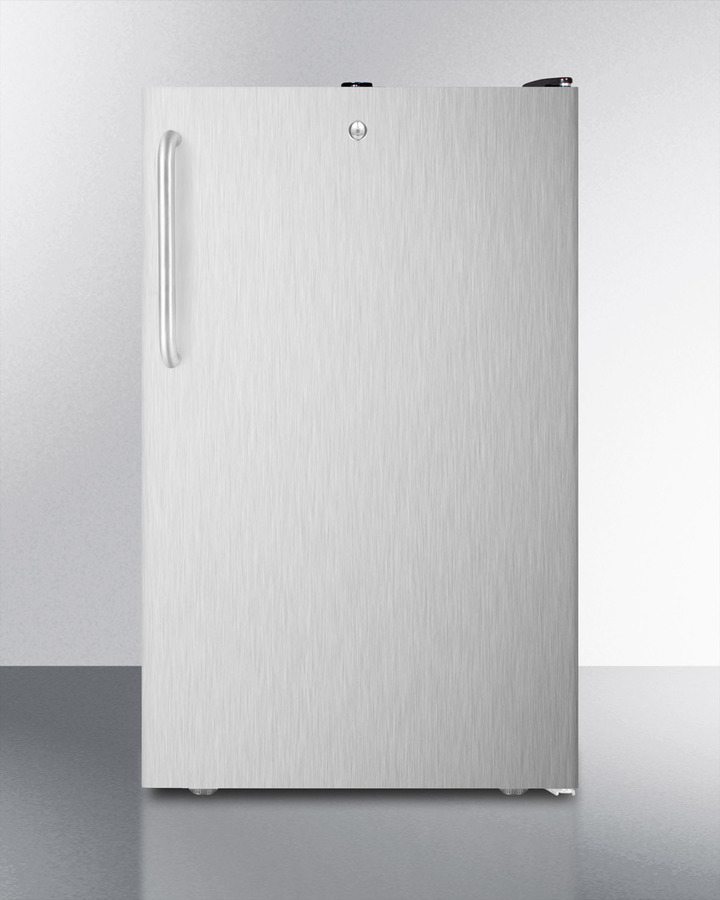 Commercially listed ADA compliant 20' wide freestanding refrigerator-freezer with a lock, stainless steel door, towel bar handle and black cabinet