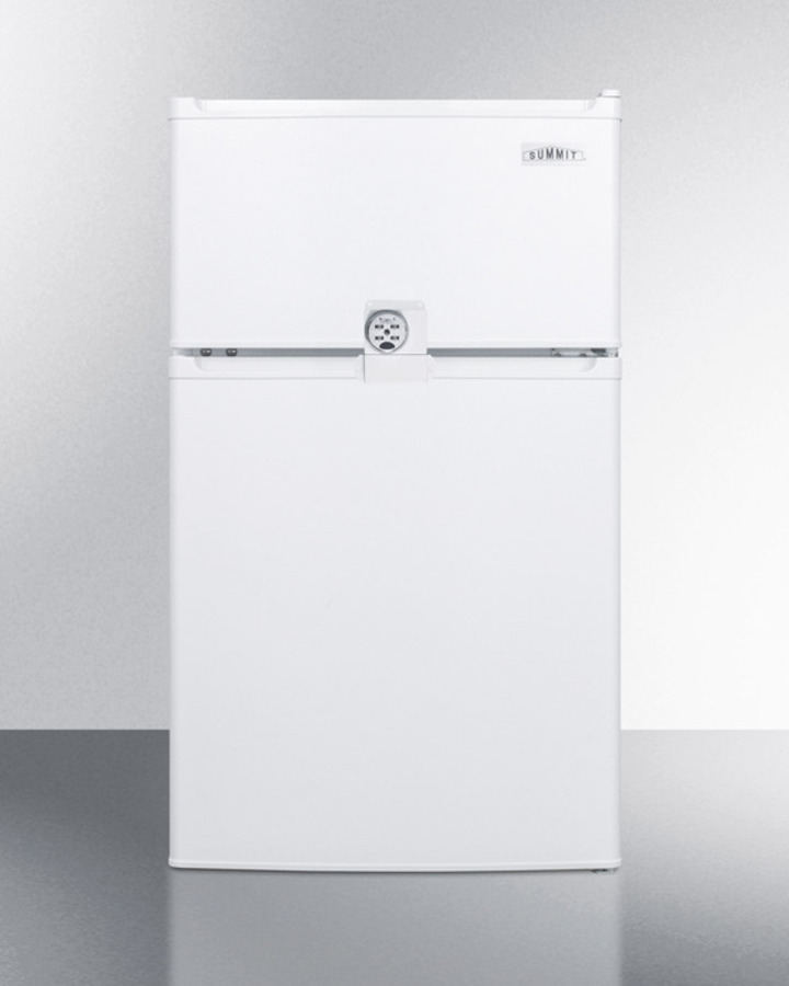 Summit Compact ENERGY STAR listed two-door refrigerator-freezer with combination lock