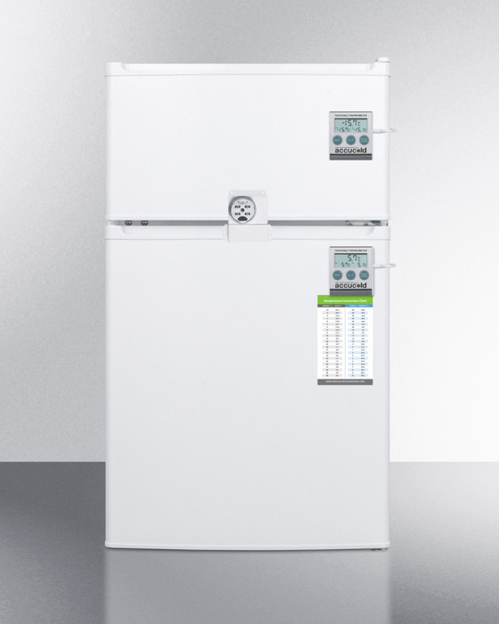 Compact two-door refrigerator-freezer with combo lock, traceable thermometer, and internal fans