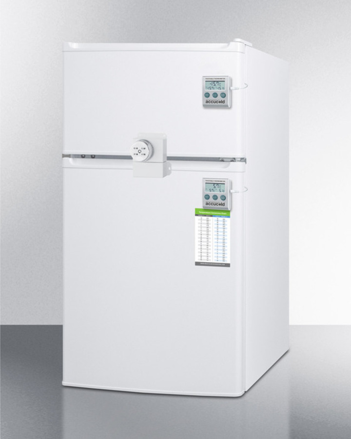 Compact Two Door Refrigerator Freezer With Combo Lock, Traceable  Thermometer, And Internal