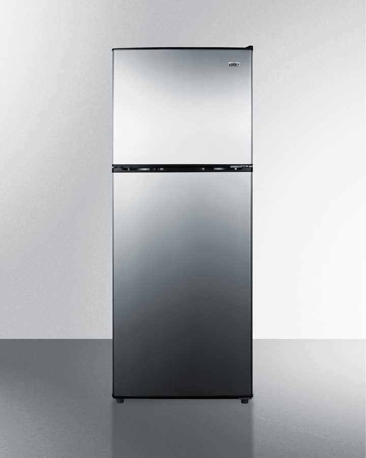 Summit Two-door cycle defrost refrigerator-freezer in slim width with stainless steel doors and black cabinet