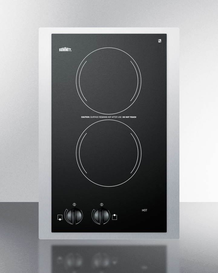 230V European two-burner radiant cooktop in black glass with stainless steel frame to allow installation in 15' wide   counter cutouts