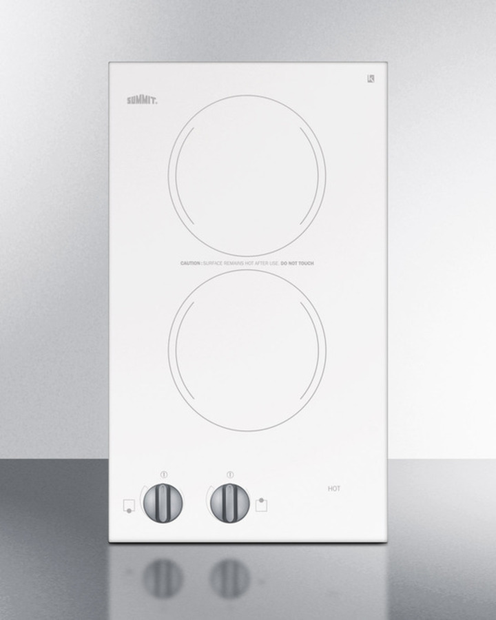 Summit 230V two-burner cooktop in white ceramic glass, made in Europe