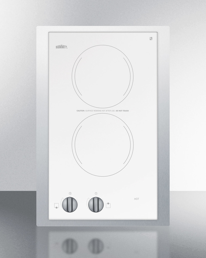 230V European two-burner radiant cooktop in white glass with stainless steel frame to allow installation in 15' wide counter cutouts