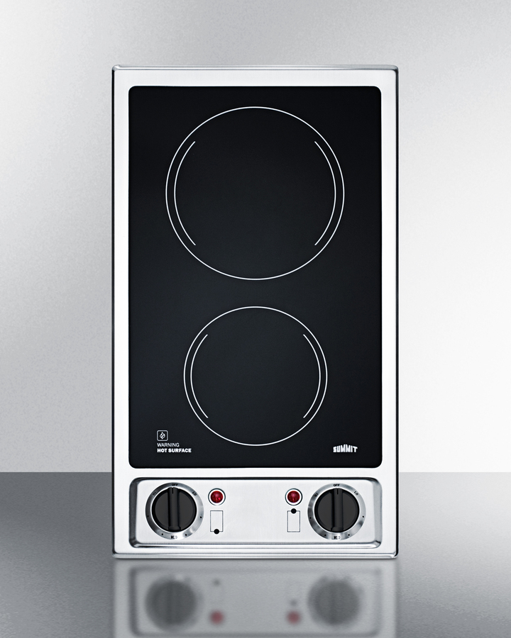 Summit 2-burner 120V electric cooktop with smooth black ceramic glass surface