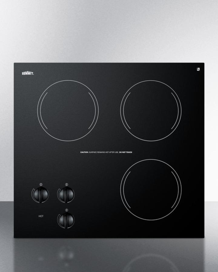 Summit 230V three-burner cooktop in black ceramic glass, made in Europe