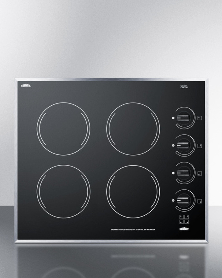 Summit 24' wide 4-burner electric cooktop in smooth black ceramic glass finish