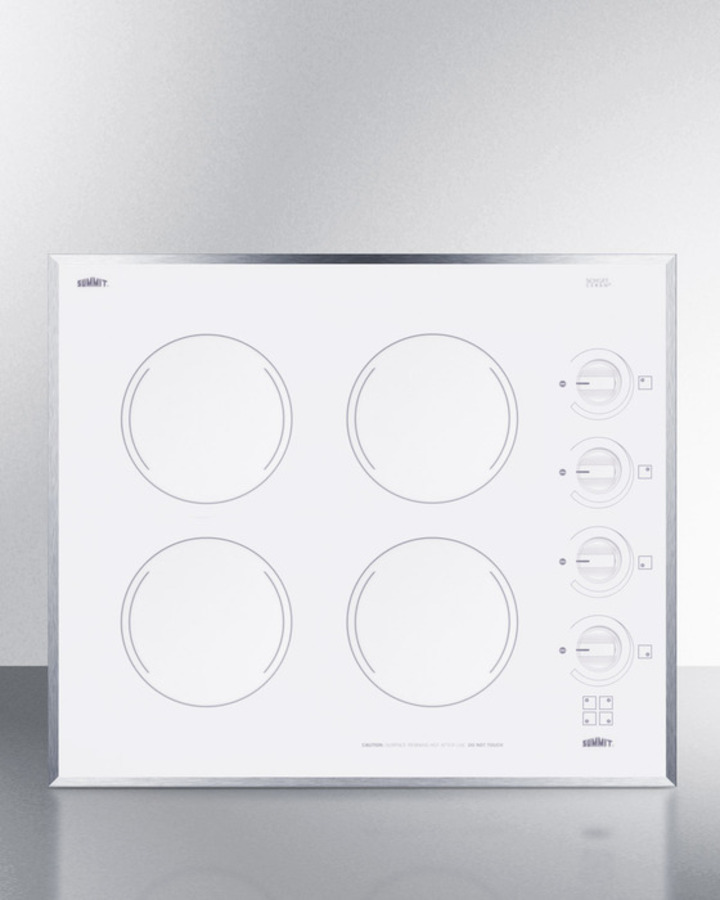 24' wide 4-burner electric cooktop in smooth white ceramic glass finish
