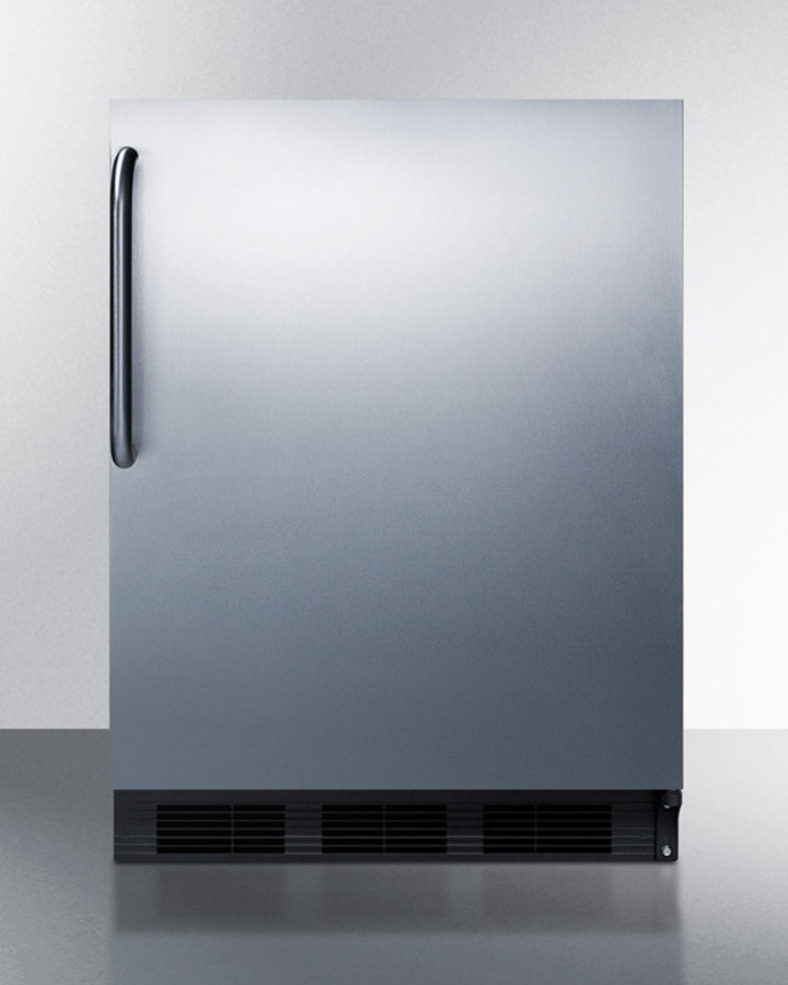 ADA compliant built-in undercounter refrigerator-freezer for residential use, cycle defrost w/deluxe interior, SS door, TB handle, and black cabinet