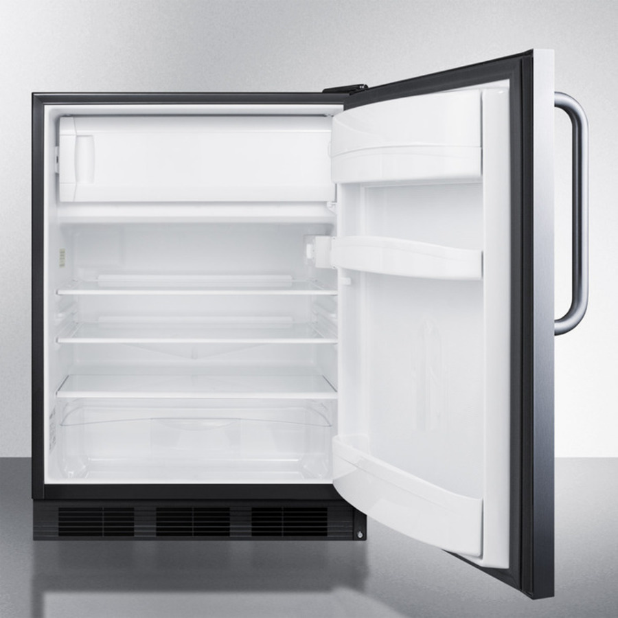 Model: CT66BCSSADA | Summit Built-in undercounter ADA compliant refrigerator-freezer for general purpose use, w/dual evaporator cooling, cycle defrost, and fully wrapped SS exterior
