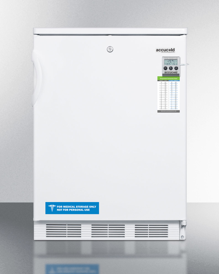 Freestanding general purpose refrigerator-freezer with dual evaporator cooling, traceable thermometer, internal fan, and front lock