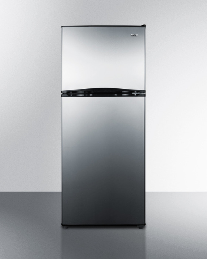 Summit 24' wide 9.9 cu.ft. frost-free refrigerator-freezer with factory installed icemaker, stainless steel doors, and black cabinet