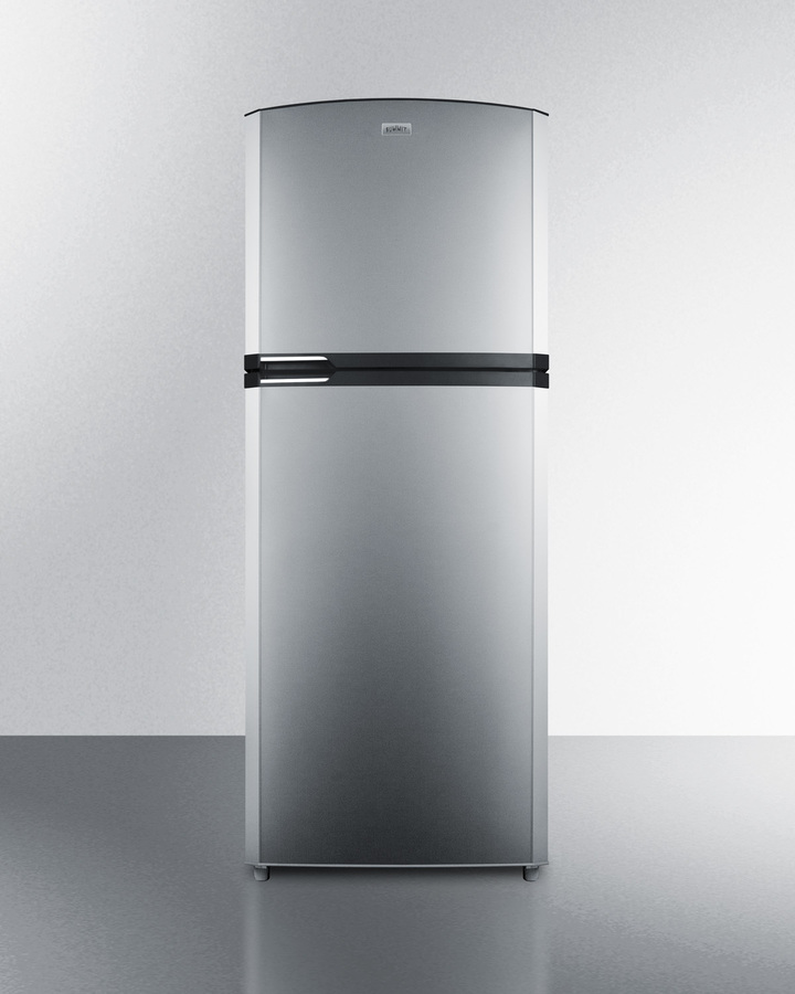 Counter depth frost-free refrigerator-freezer with stainless steel doors, platinum cabinet, icemaker