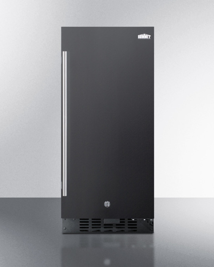 15' wide all-refrigerator for built-in or freestanding use, with digital controls, LED light, lock, and black exterior finish; replaces FF1538B