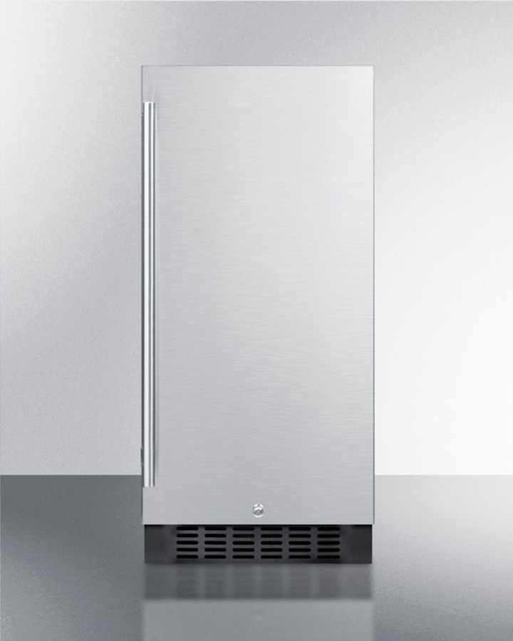 Summit 15' wide all-refrigerator for built-in or freestanding use, with stainless steel wrapped exterior, lock, and digital thermostat; replaces FF1538BCSS