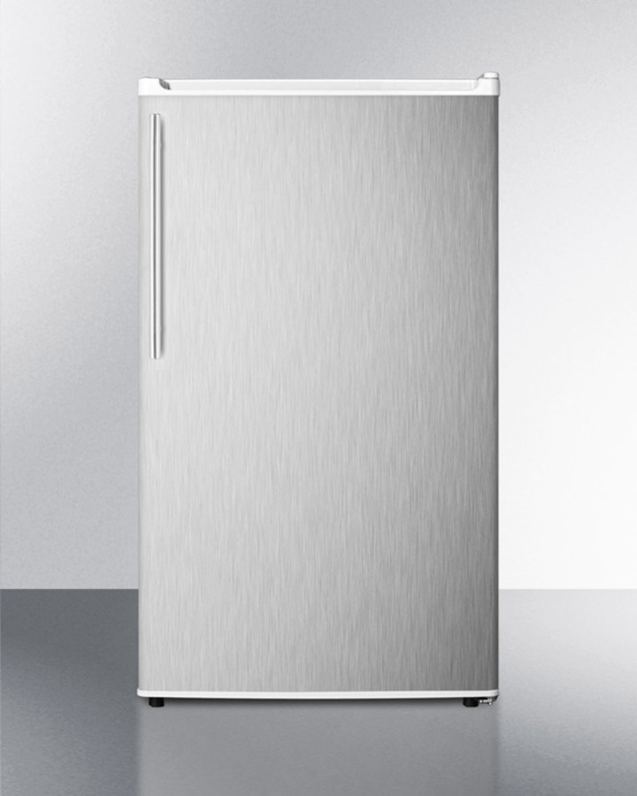 ENERGY STAR qualified auto defrost refrigerator-freezer with ADA compliant counter height; white cabinet with stainless steel door and thin handle