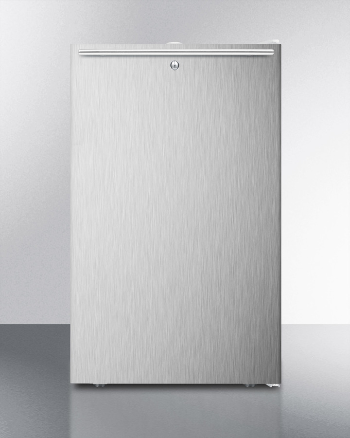 Commercially listed ADA Compliant 20' wide counter height all-refrigerator, auto defrost with a lock, stainless steel door, horizontal handle, and white cabinet
