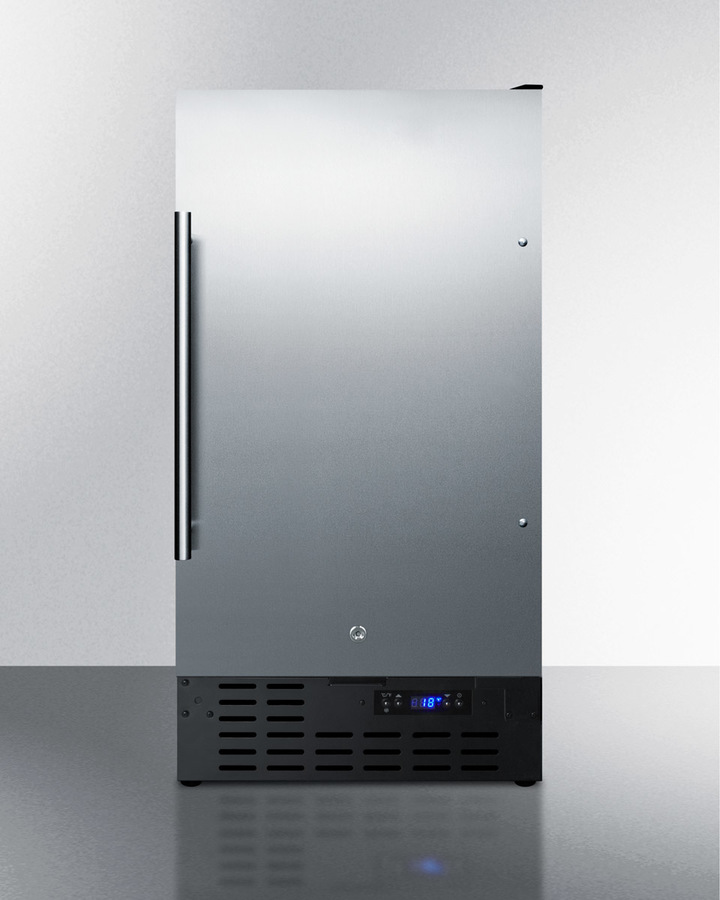 18' wide ADA compliant built-in undercounter all-refrigerator with a stainless steel door, black cabinet, digital thermostat and front lock