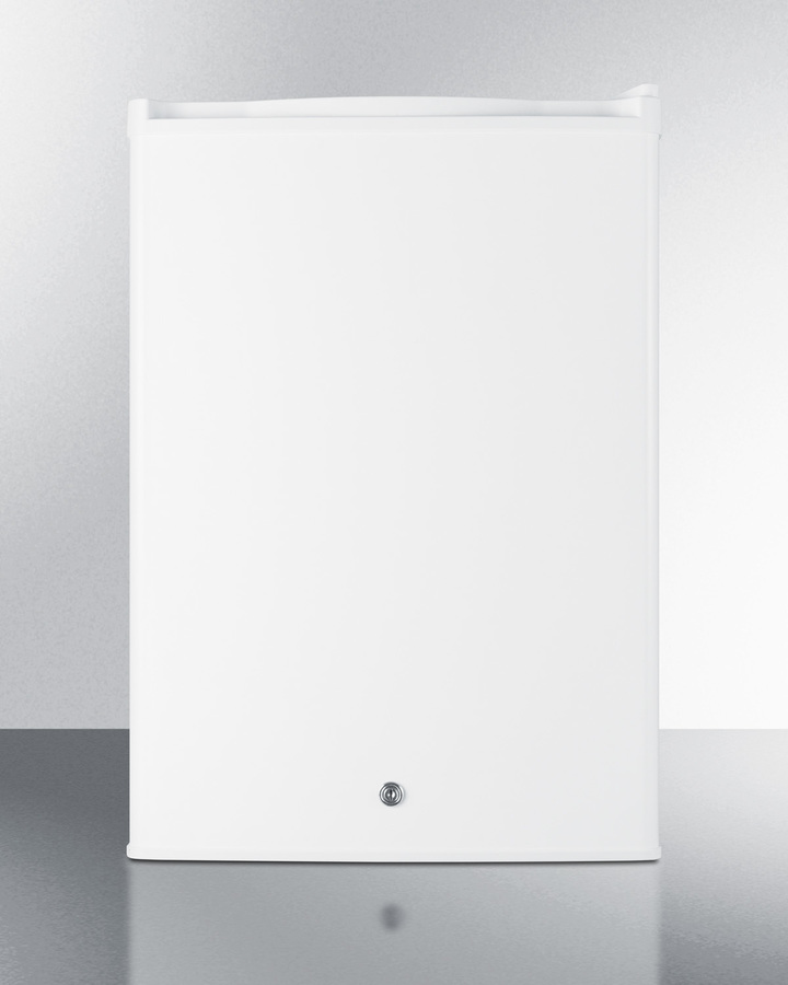 Commercially approved countertop all-refrigerator in white with digital thermostat
