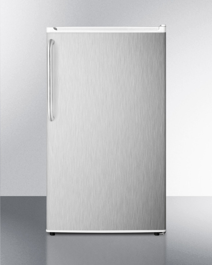 Compact ENERGY STAR qualified auto defrost refrigerator-freezer with a full stainless steel wrapped exterior