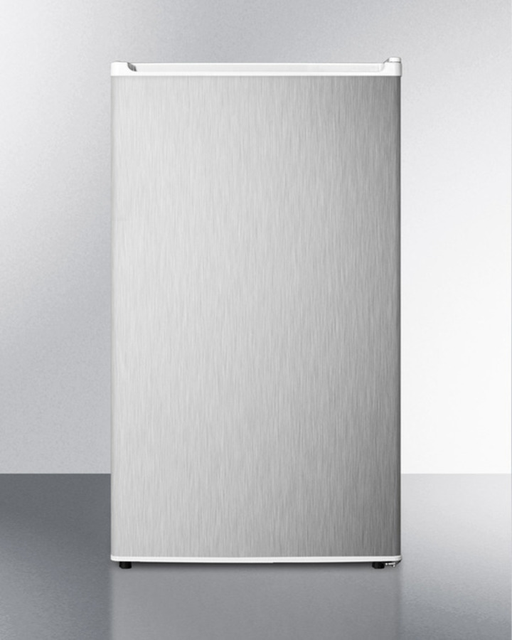ENERGY STAR qualified auto defrost refrigerator-freezer with ADA compliant height; white cabinet with reversible stainless steel door