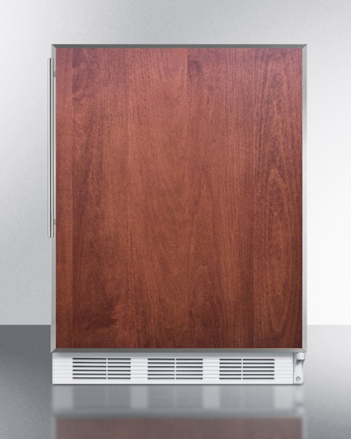 Built-in undercounter all-refrigerator for residential use, auto defrost with a door frame to accept slide-in panels and white cabinet finish