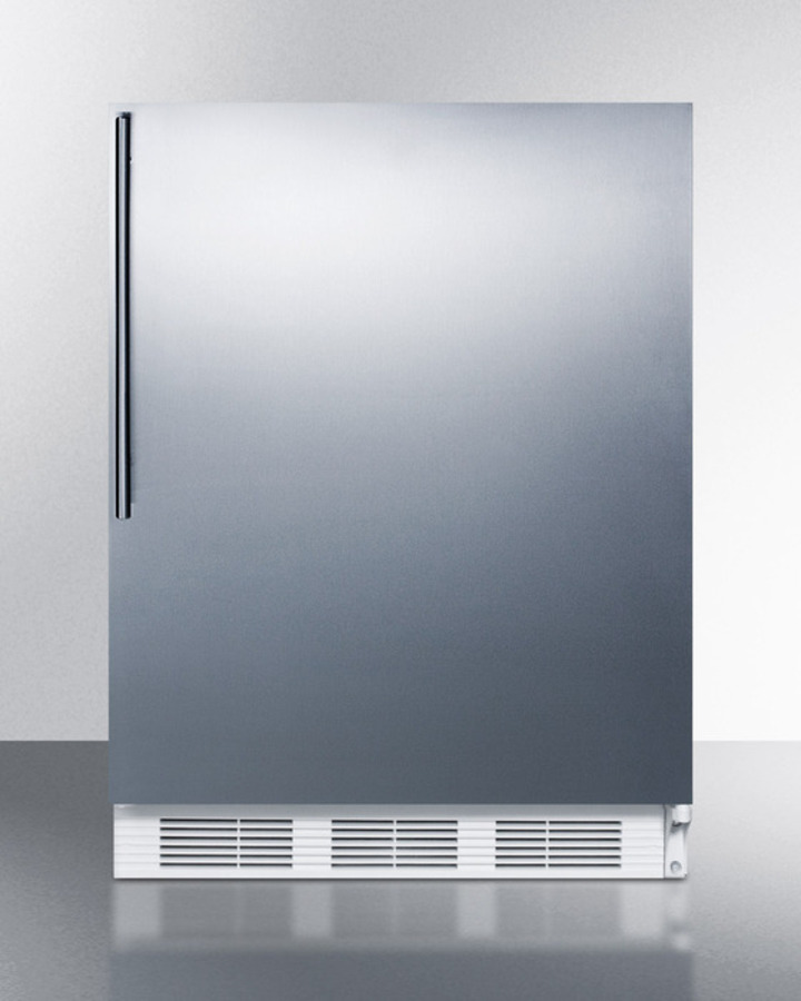 Summit Built-in undercounter all-refrigerator for residential use, auto defrost with a stainless steel wrapped door, thin handle, and white cabinet